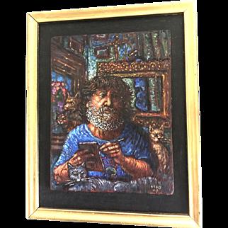 """Self Portrait in Blue"" by Milton H. Brightman"