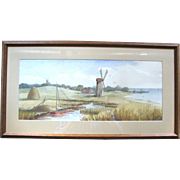 1889 Watercolor of Coastal Scene with Windmill – F. Baer