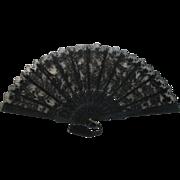 20th c Spanish Black Lace & Wood Folding Fan