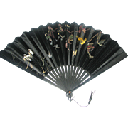 19th c Black Satin & Wood Folding Fan with Birds