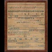 1742 American Sampler by Elizabeth Colby age 12