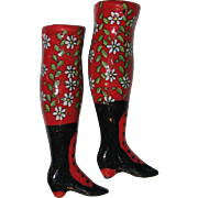 """Pair of 3"""" China Head Legs  – Red with Flowers"""
