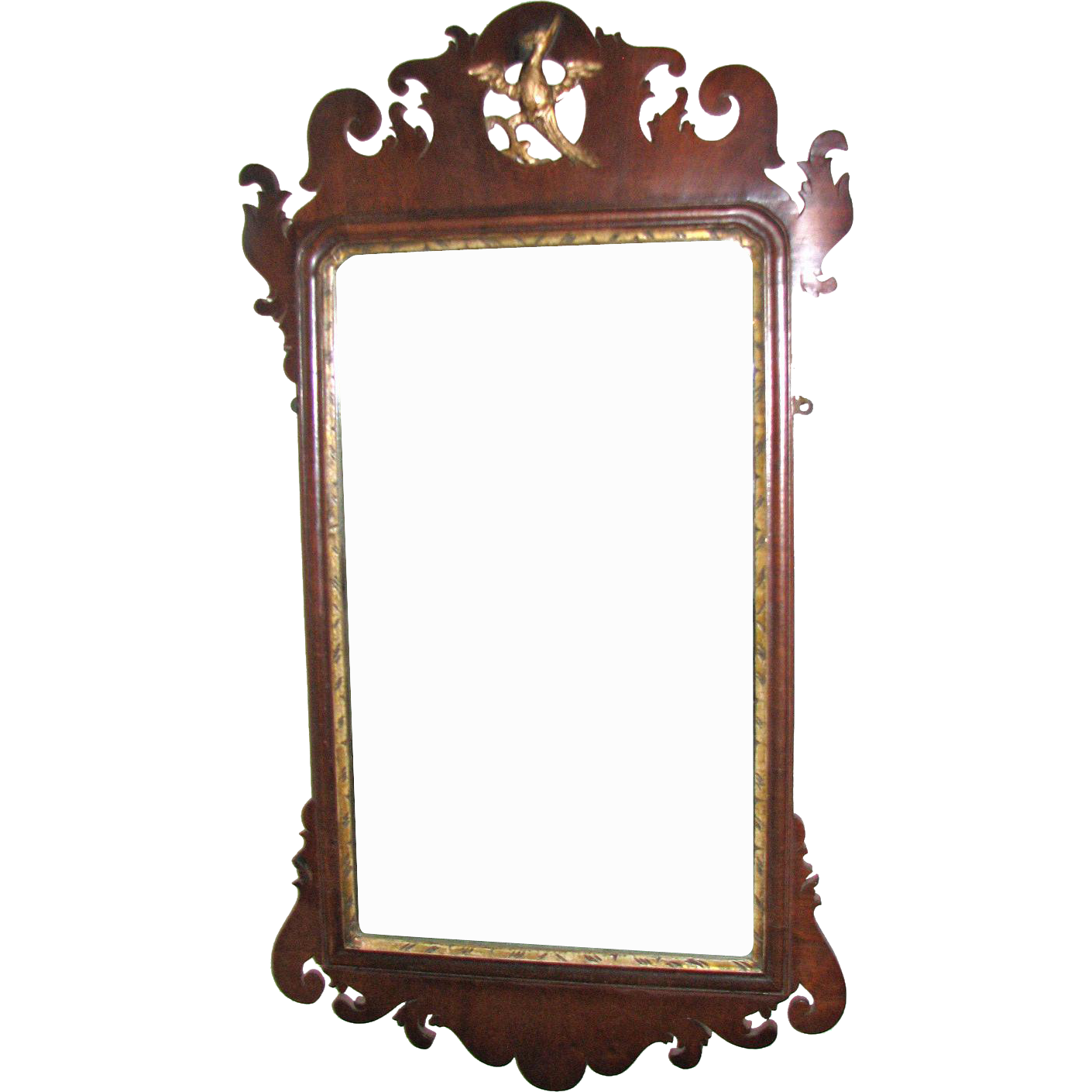 Antique Scrollimgs: Antique American Chippendale Scroll-Frame Mirror, 18th