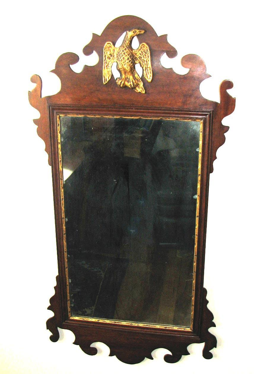 18th C American Chippendale Mahogany Scroll Frame Mirror