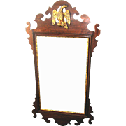 18th C. American Chippendale Mahogany Scroll-Frame Mirror