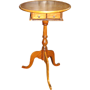 Antique Maple Dish Top Candlestand with Two Drawers
