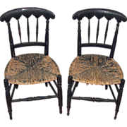 Pair of Period Sheraton Children's Chairs