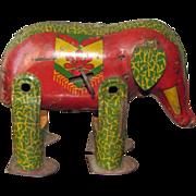 Antique Mechanical Tin Litho Wind-up Elephant Toy