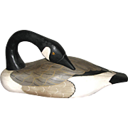 Wooden Carved Preening Goose Decoy