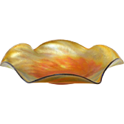 American Iridescent Gold Art Glass Plate