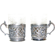 Pair of Antique Tea Holders with Silver Plated Mounts