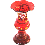 "Antique 5"" Bohemian Enameled Ruby Glass Vase"