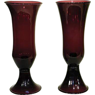 """Pair of 14"""" Pairpoint Amethyst Candlesticks"""