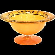 Ca. 1900 Czech Silhouette Orange Art Glass Compote