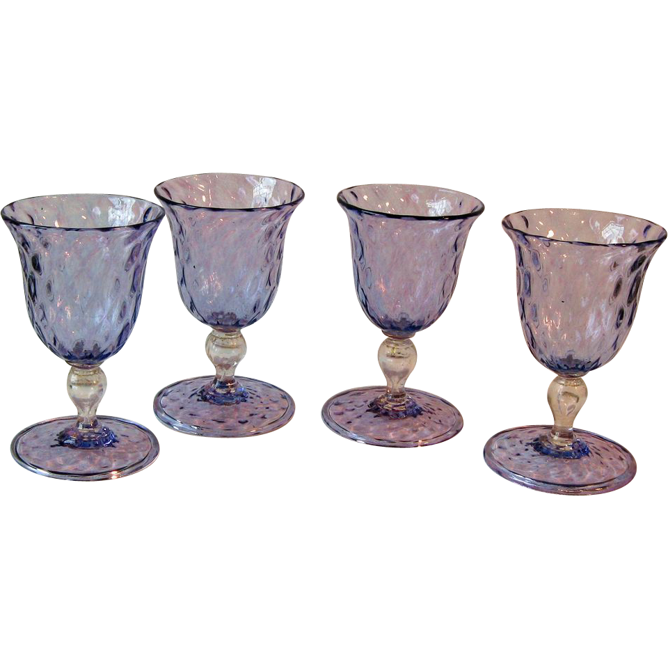 set of four vintage italian art glass wines aperitifs sold on ruby lane. Black Bedroom Furniture Sets. Home Design Ideas