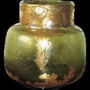 Circa 1900 Mont Joye Oak Pattern Vase