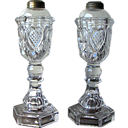 Pair of Antique Boston & Sandwich Glass Whale Oil Lamps