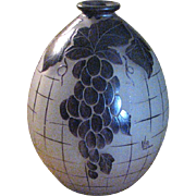 Cameo Glass Vase with Grape Design