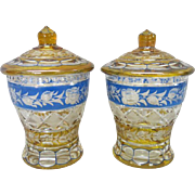 Pair of Bohemian Cut Glass Sweet Meat Jars