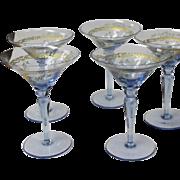 Four Venetian Blue Glass Enameled Martini Glasses