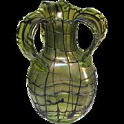 Large Pallme-Konig Green Veined Iridescent Art Glass Vase Ca1900