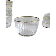 Six Venetian Glass Punch Cups – Gilded Rims