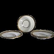Six Venetian Glass  Saucers – Tooled Gilt Rims