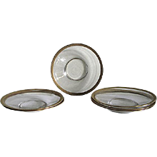 Six Venetian Glass  Saucers – Tooled Gilt Rims