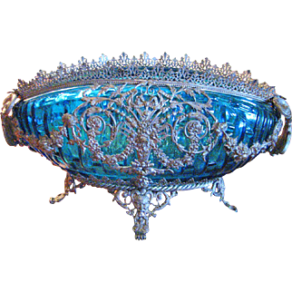 Vintage French Blue Oval Bowl with Ornate Brass Holder