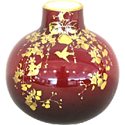 Fine Oxblood Cased Glass Vase – Birds and Flowers
