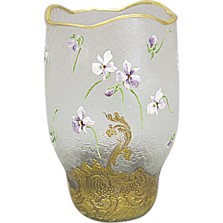 Mont Joye Cameo Glass Vase