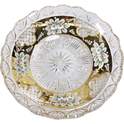 Czech Bohemian Enamel Cut Glass Plate Bowl