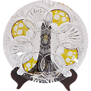 Czech Bohemian Amber Flash Cut Glass Plate Bowls