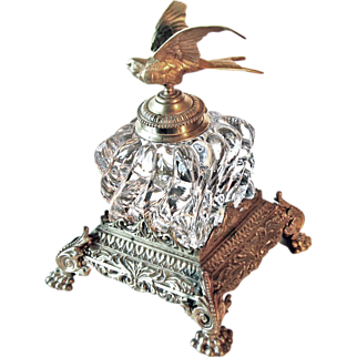 Baccarat Cut Crystal Inkwell with Brass Eagle Circa 1860