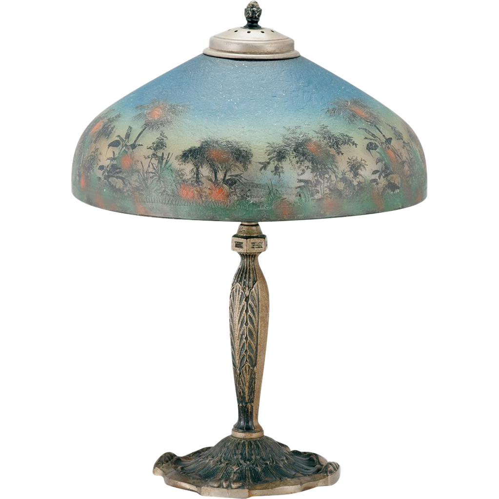 Signed Reverse Painted Pittsburgh Lamp Sold On Ruby Lane