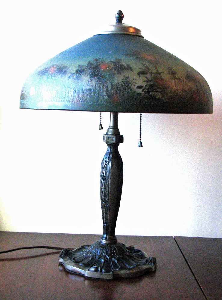 Signed Reverse Painted Pittsburgh Lamp on Mixed Metal Bedroom