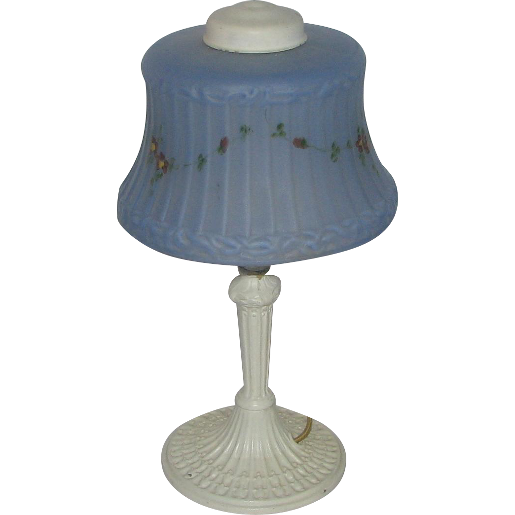 art deco white painted boudoir lamp w blue shade from vanbibber on ruby lane. Black Bedroom Furniture Sets. Home Design Ideas
