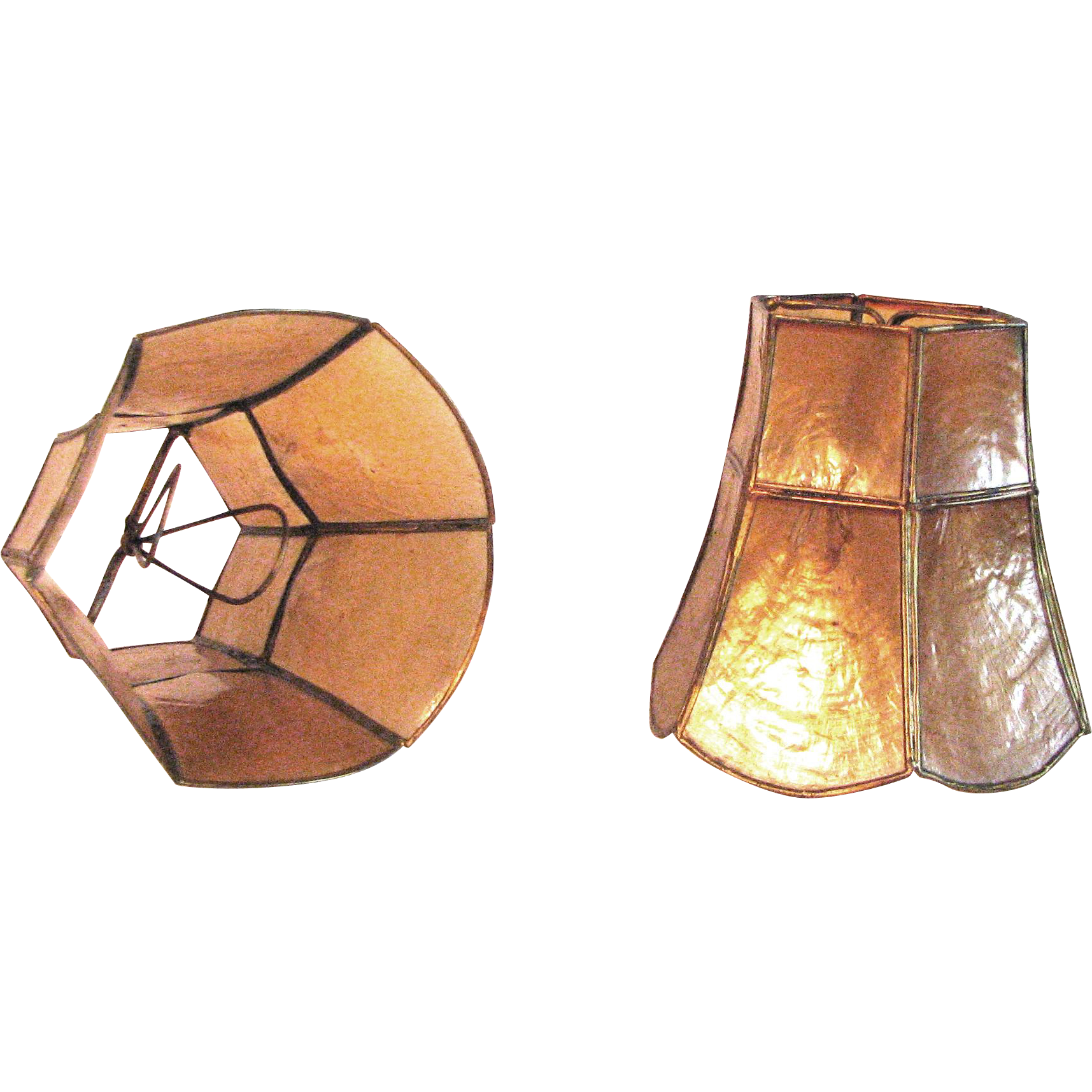 Pair Of Vintage Art Deco Mica Lamp Shades Sold On Ruby Lane