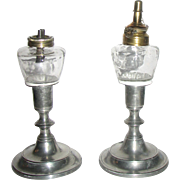 Pair Pewter Candlesticks with Whale Oil Peg Lamps
