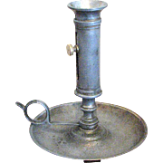 "6 3/4"" Tall Pewter & Brass Push Up Candlestick"