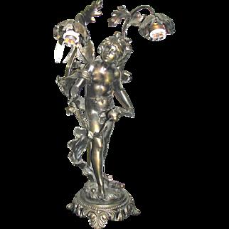 Art Nouveau Bronze Nymph Lamp Louis Moreau