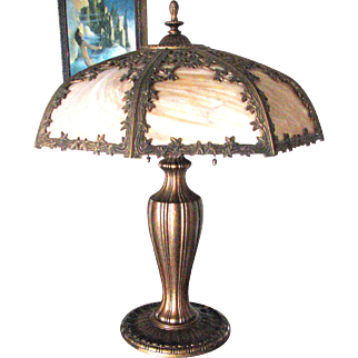 Miller Art Nouveau 8 Panel Caramel Slag Glass Lamp