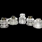 Five Pressed Glass Antique Fluid Lamps – No Burners
