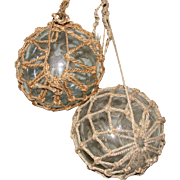 Pair of Old Glass and Rope Fishing Floats