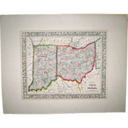 Mitchell's County Map of Ohio & Indiana – 1860