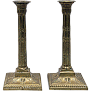 Pair of Antique 19th Century Brass Candlesticks in Adam form