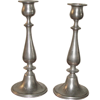 Pair of Early 20th Century Pewter Candlesticks by L.H. Vaughan, Taunton, MA