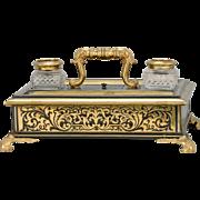 Ebony & Brass Standish, 19th Century