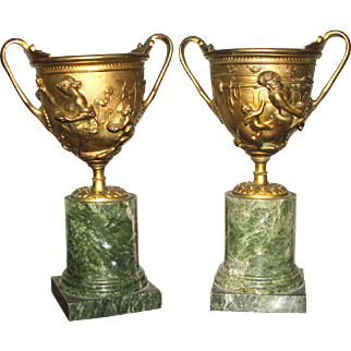 Pair of Classical Marble Based Bronze Compotes