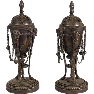 Pair of English 19C. George III Bronze Cassolettes